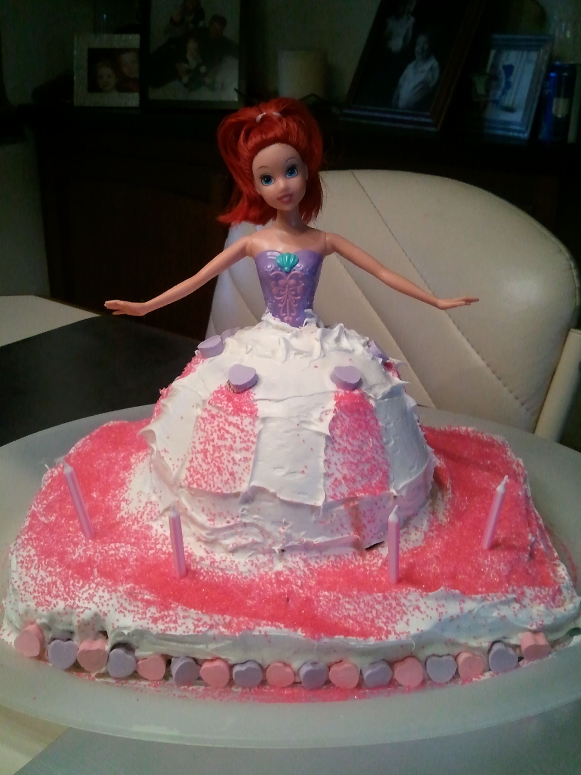 Barbie cake put on top of sheet cake love this idea