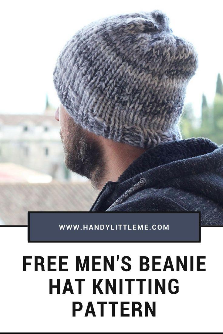 Free men\'s beanie hat knitting pattern. Easy pattern for beginners ...