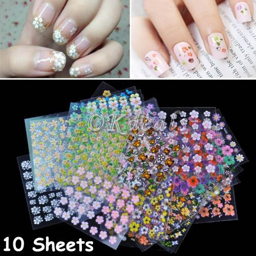 Hot 10 Sheets 3D DIY Art Manicure fingernail Decoration Mixed Decal Stickers #Unbranded