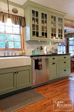 Green Kitchen Cabinets Upholstered Counter Stools Sage Country Cottage With Farmhouse Sink Transitional Other Metro Caves Kitchens