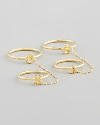 Sarah Chloe Gold Shea Linked Initial Rings
