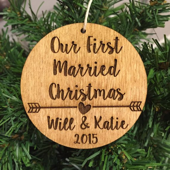our first married christmas wood ornament personalized with arrow and couples names and year - Our First Married Christmas Ornament