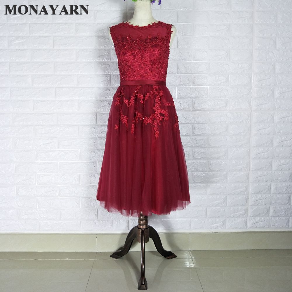 Click to buy ucuc red wine lace short evening dresses embroidery with