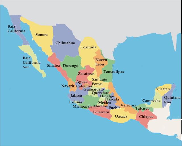 32 states of mexico map   PZ C: mapa de mexico   Holidays to ...