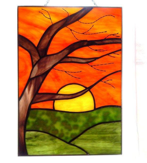 Birch Sunrise Stained Glass Panel Met Afbeeldingen Landschap
