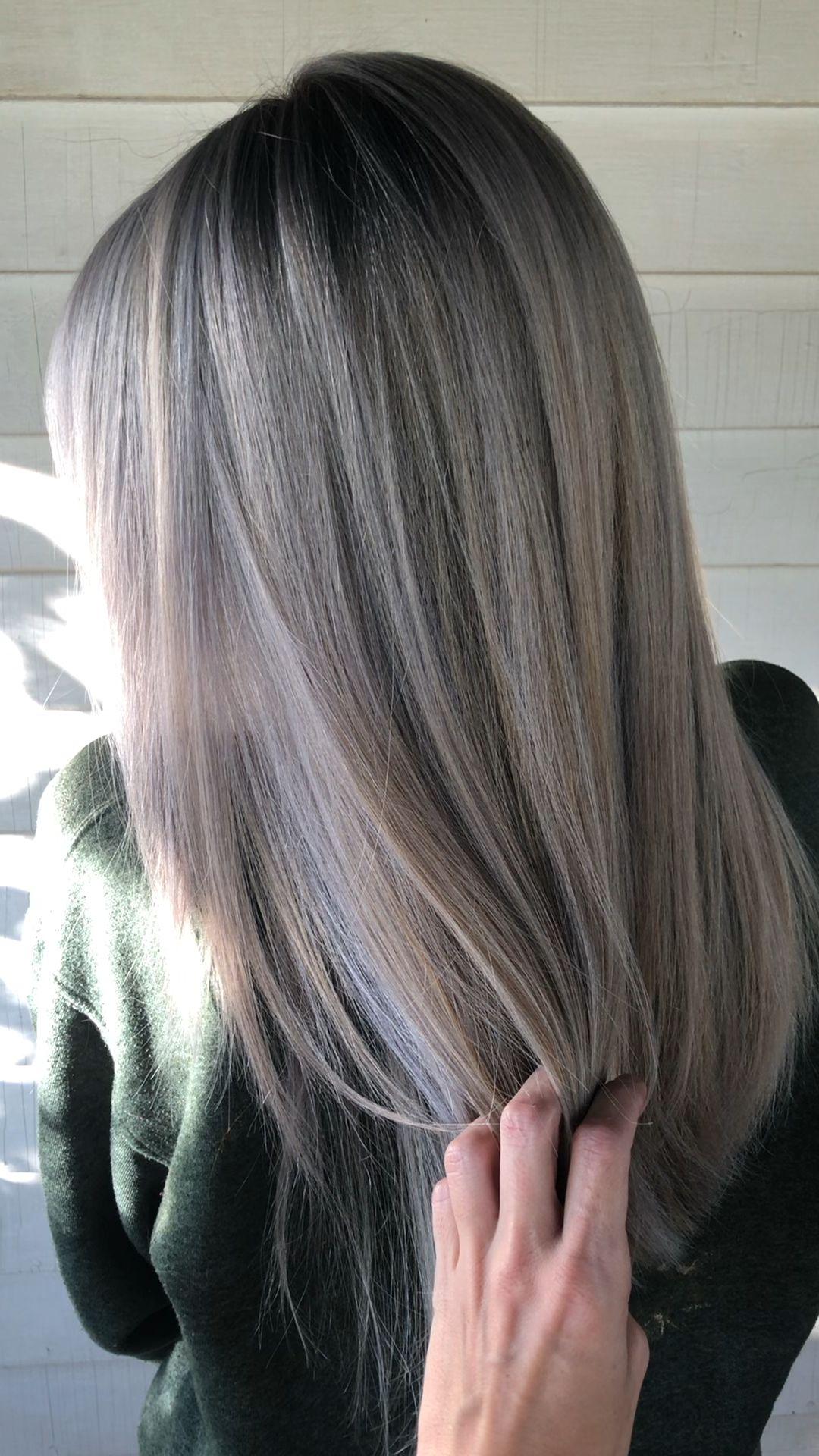 Photo of SILVER PLATINUM BLONDE BALAYAGE ON BLACK HAIR