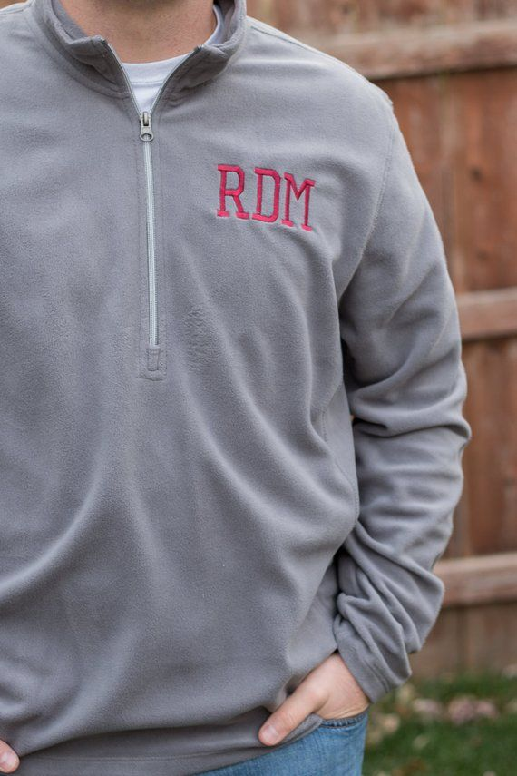 Monogram Men's Fleece Pullover | Half Zip Pullover | Mens