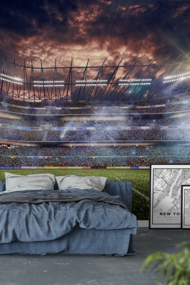 Dramatic Football Stadium Wall Mural   Wallpaper