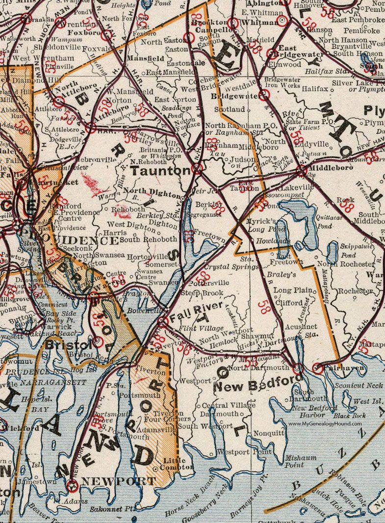 Bristol County Massachusetts 1901 Map Cram Taunton New