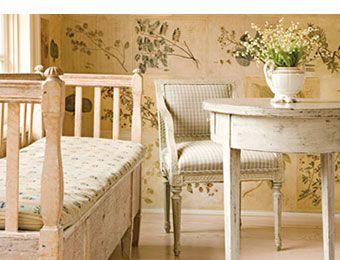 Delightful Swedish Gustavian Furniture: Settle, Armchair, And Table