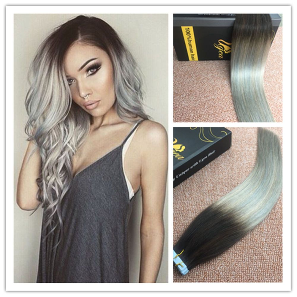Balayage Ombre Tape In Human Hair Extensions Straight Dip Dyed Black