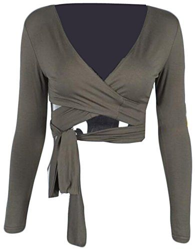 177a0ebd5b5c4 NQ Womens Slim Fit Long Sleeve Sexy Plain V Neck Short Tshirt L Army green