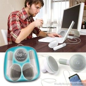 500XL (bigger, better, louder, cooler!)    Sometimes bigger IS really better, especially when it comes to sound. 500XL is a puny pair of earbuds magnified 500 times the size of the original! How great will these look on your desktop alongside your mp3 player or PC? 500XL includes a built-in amp and 3-way power - it runs on batteries; you can connect it to your PC's USB port with the supplied cord; or plug it into the wall with a generic power supply (not included).