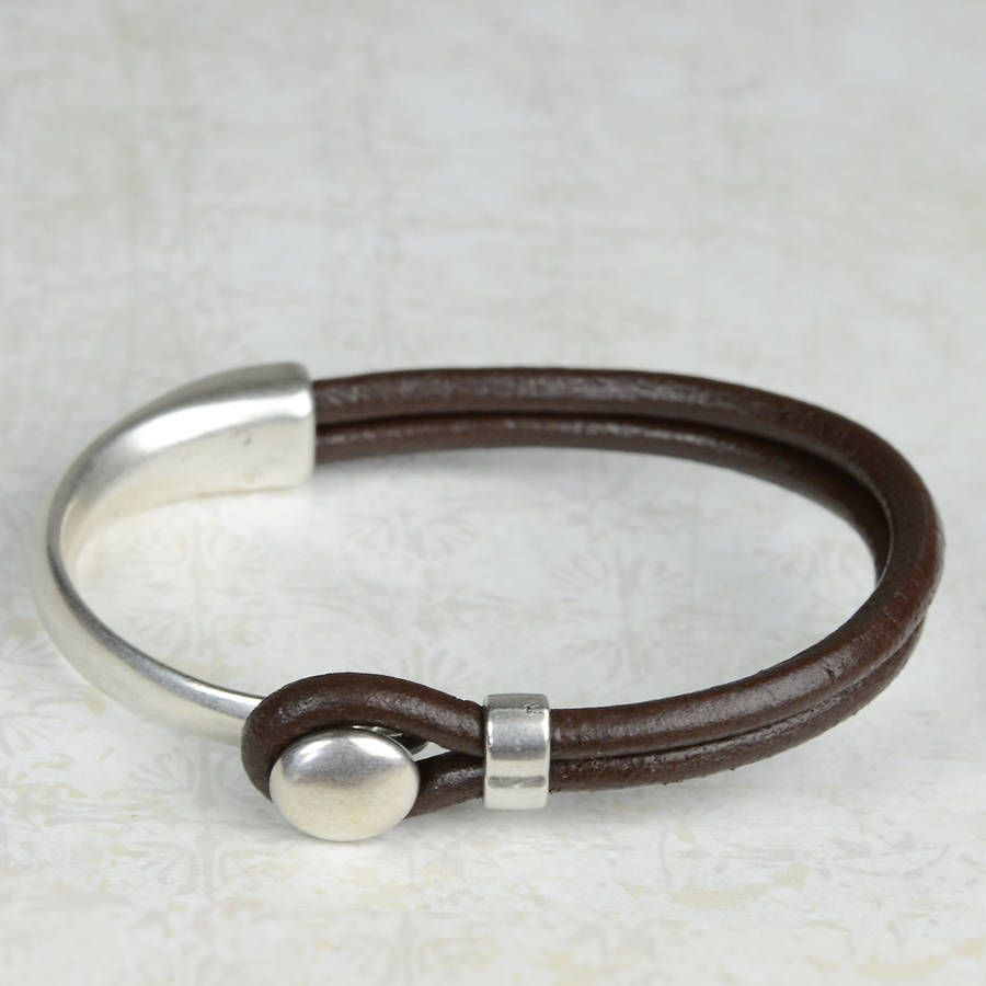 Eros Silver Plated Leather Mens Bracelet