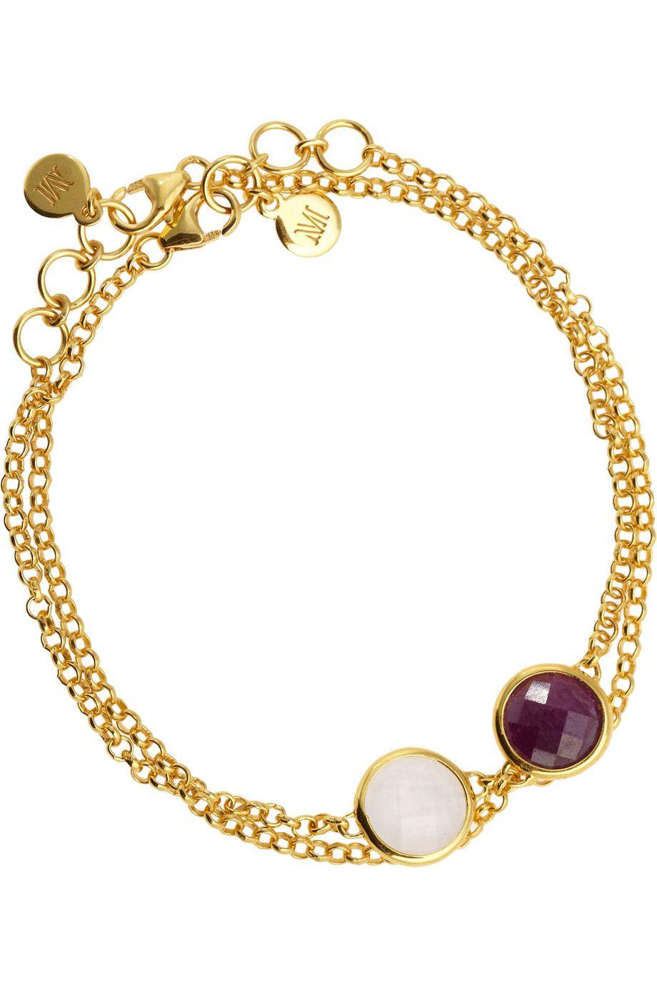 Monica Vinader|Mini Luna set of two 18-karat gold-vermeil bracelets|NET-A-PORTER.COM