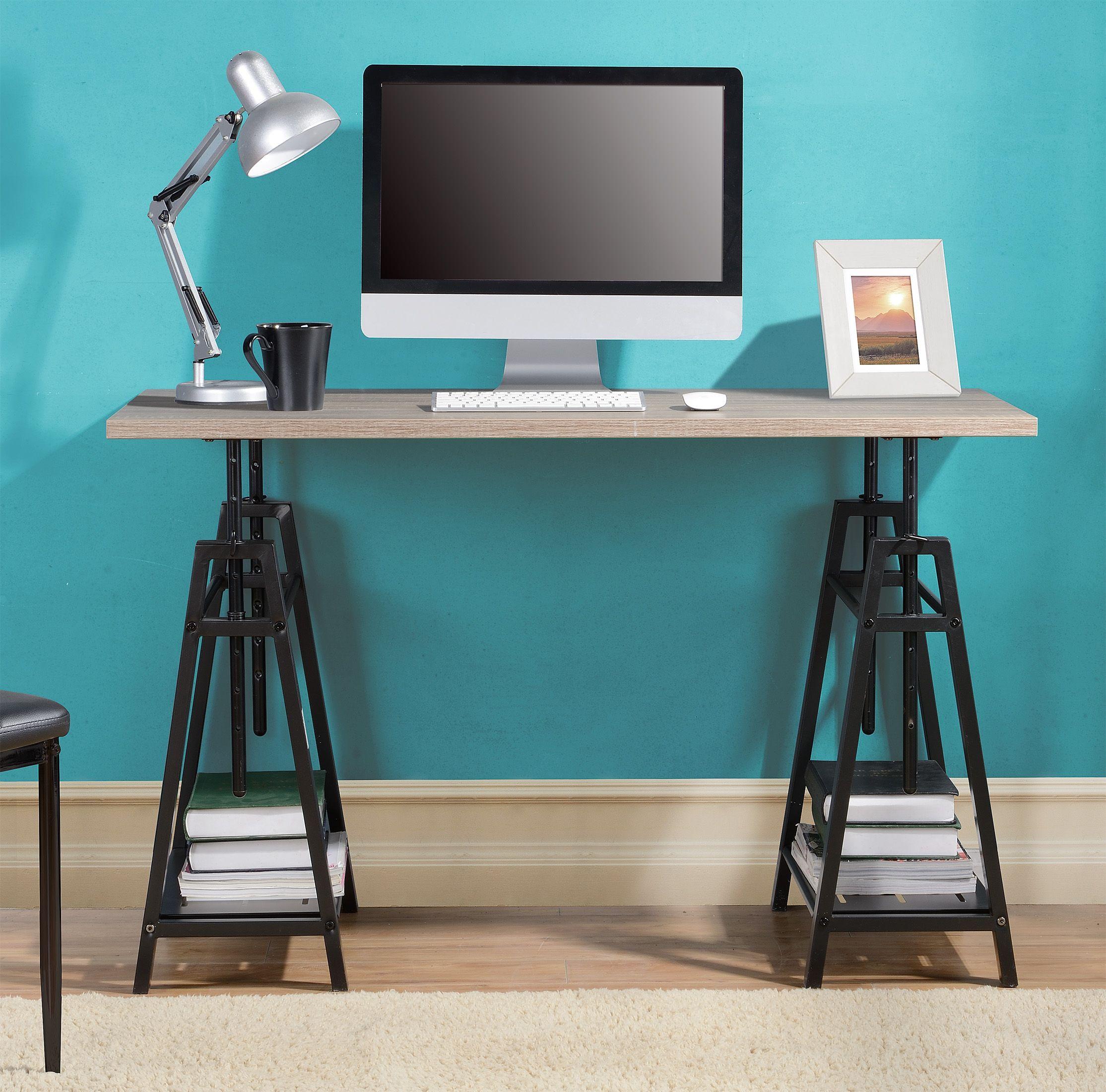 Adjustable Height Desk, Gray/Brown