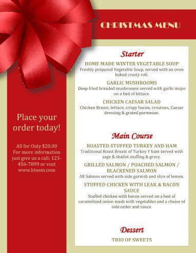 Christmas Menu on Hloom http\/\/wwwhloom\/free-printable - ms word menu template