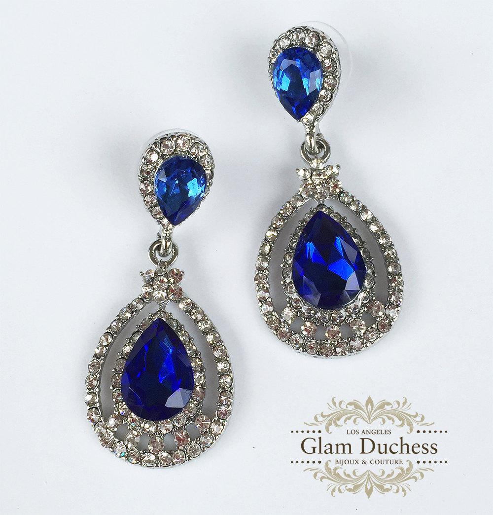 43.00$  Buy now - http://vifxg.justgood.pw/vig/item.php?t=k1gwkdc34638 - Bridal jewelry, Bridal earrings, Wedding jewelry, Teardrop Royal blue earrings
