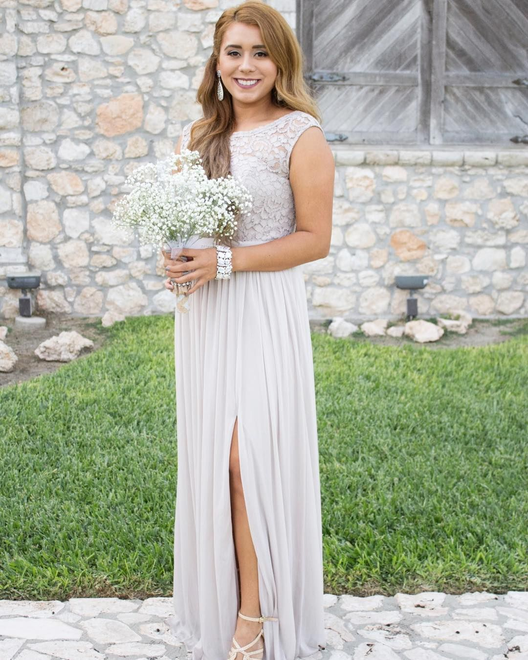 Lace bodice high neck taupe David\'s Bridal bridesmaid dress | Photo ...