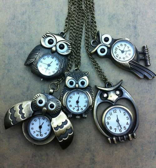 Owls and clocks and necklaces all at once owls shannon owl clock necklaces very hoot mozeypictures Images