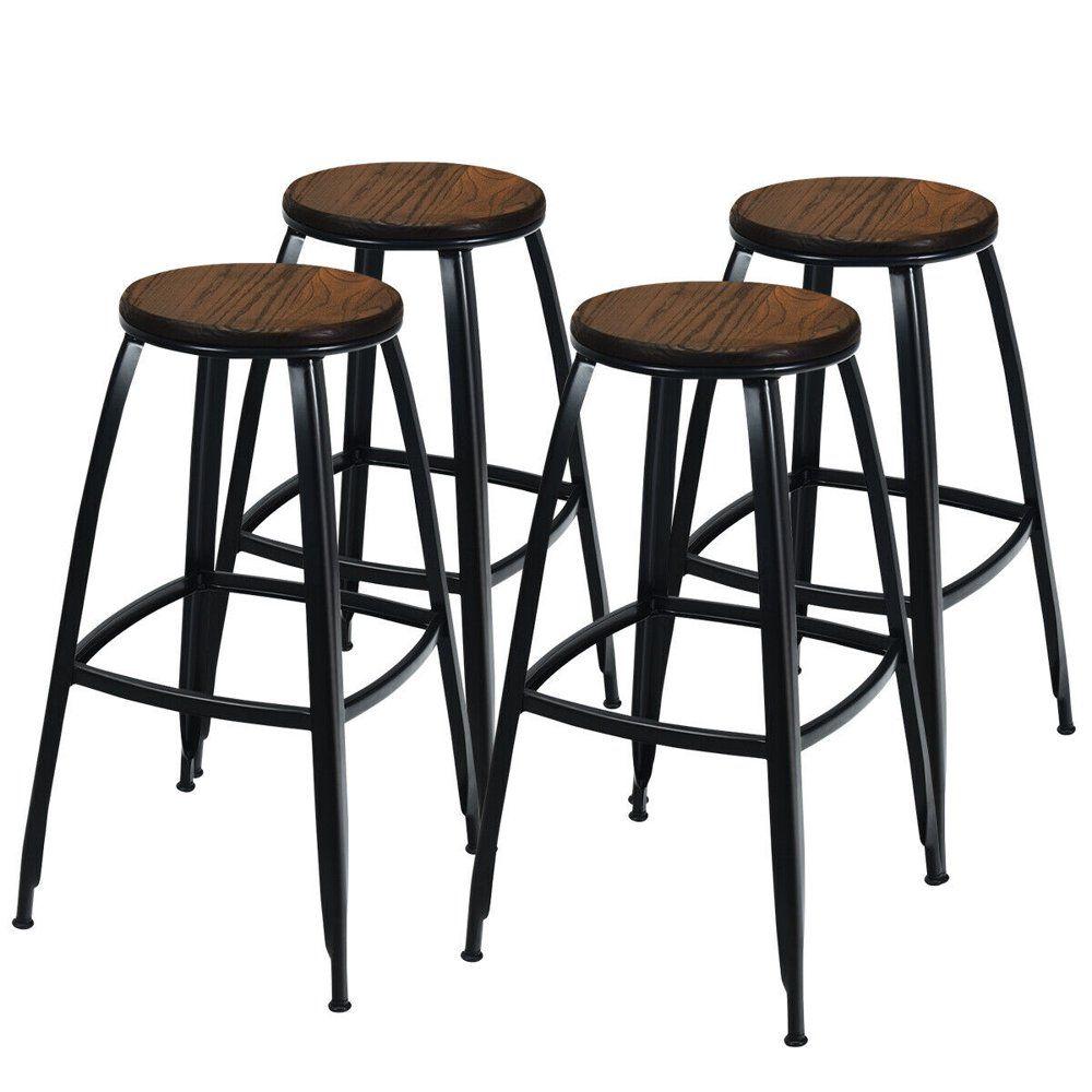 Gymax Set Of 4 Industrial 30 Bar Stool Pub Height Bar Chair Metal Frame Elm Wood Seat Walmart Com Metal Bar Stools Bar Stools Metal Chairs