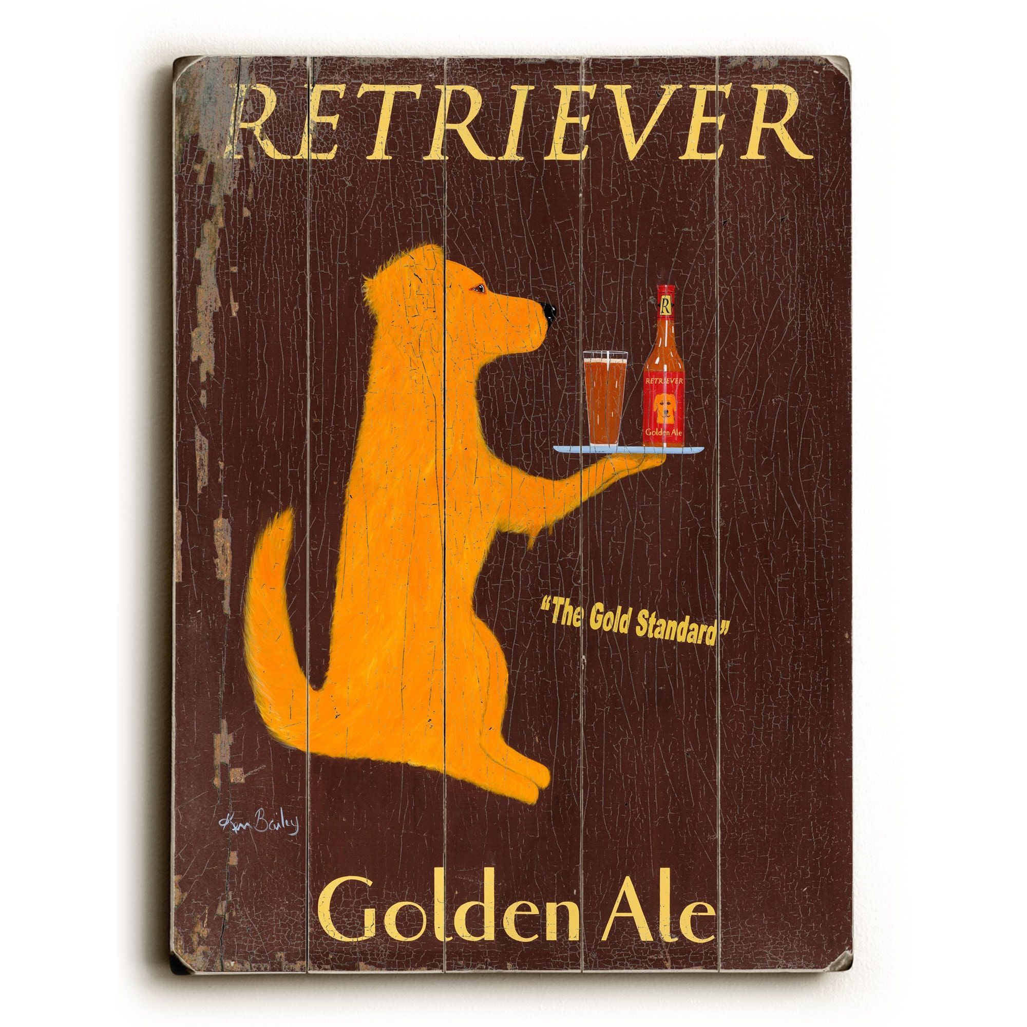 7c9f780493ecd Retriever Golden Ale - Wall Decor by Ken Bailey (30 x 40 - Planked ...