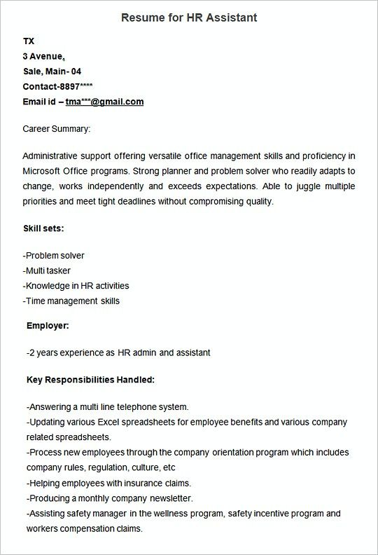 Sampleresume Template For Hr Assistant  Hiring Manager Resume