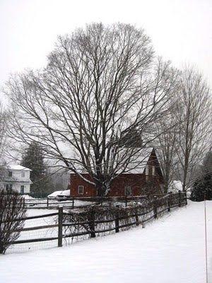 A snowed in landscape and farmhouse in Taftsville, VT