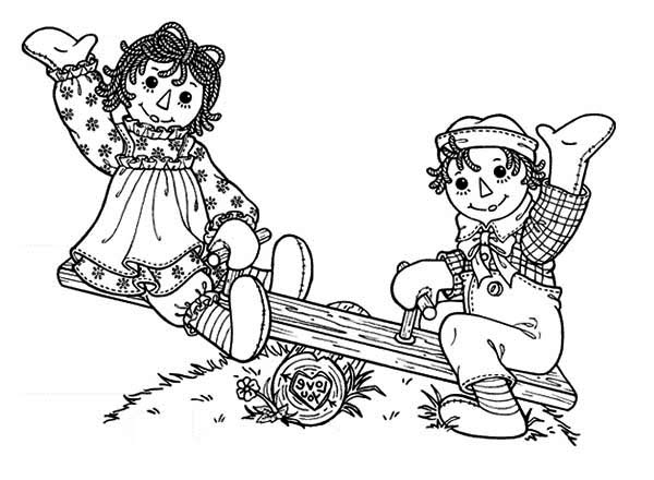 Raggedy Ann And Andy Playing Seesaw Coloring Page - NetArt Raggedy Ann  And Andy, Raggedy Ann, Raggedy