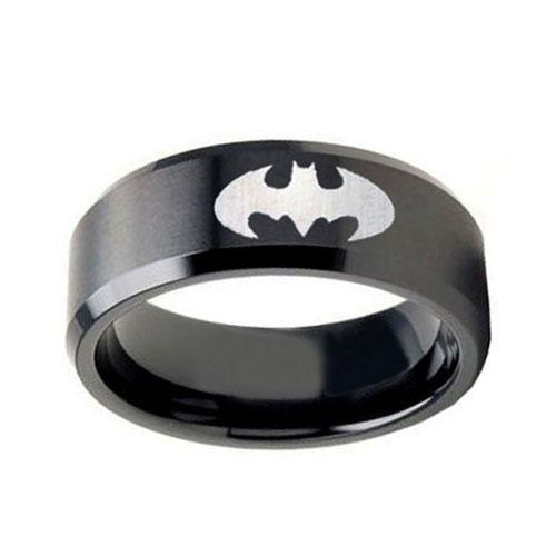 mens wedding band batman 10MM Tungsten Carbide Satin Black Pipe