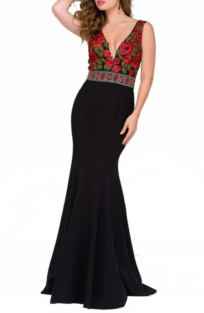 Main Image - Jovani Floral Lace Mermaid Gown