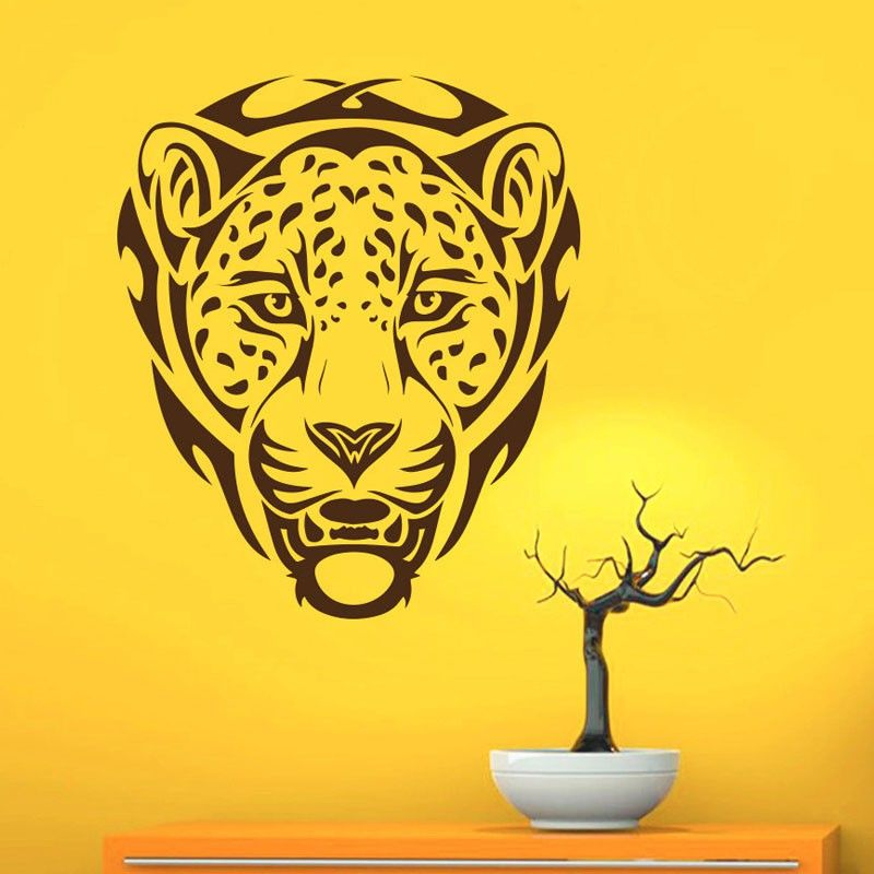 African Animal Leopards Wall Decals PVC Removable Wall Decor Art ...