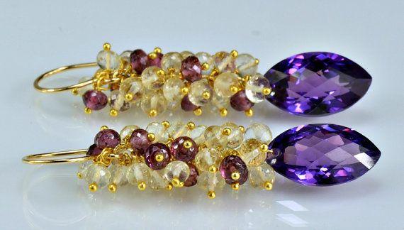 Alexandrite Gemstone Cluster boucles par skyvalleyjewelry sur Etsy, $156.00