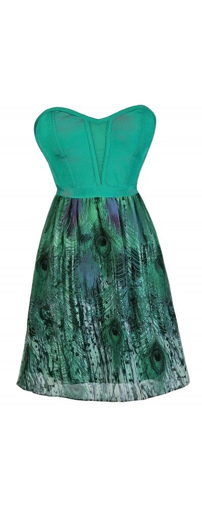 11530c81189 Pretty As a Peacock Printed Dress in Jade www.lilyboutique.com
