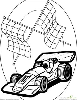 Color The Race Car Worksheet Education Com Cars Coloring Pages Race Car Coloring Pages Race Cars