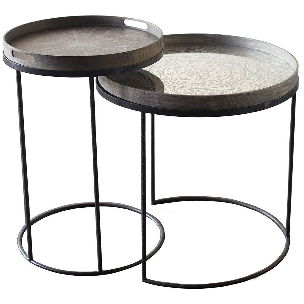 High Quality Notre Monde Set Of 2 Round Tray Table Bases   High