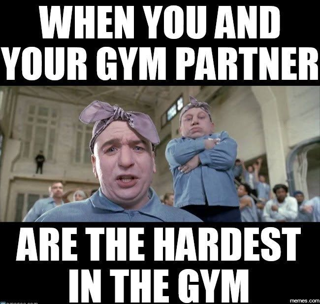 efa5b14652647b9a7c05e95a3a022408 when you and your gym partner are the hardest in the gym gym memes