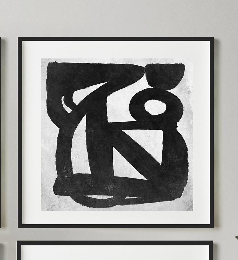 Abstract art print set set of 4 black and white art etsy