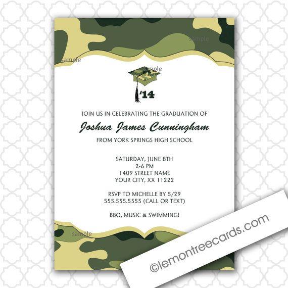 Green Camo Graduation Party Invitation printable digital file
