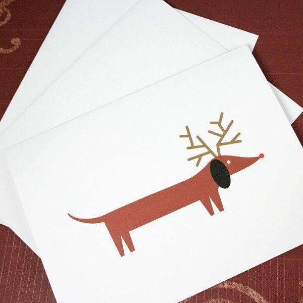 Dachshund Christmas Cards Set of 6 Cards Folded cards, White