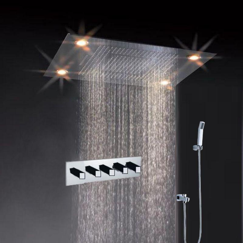 Super Luxury Shower 5 Function Recessed Ceiling Mount Led Large Shower Set System In 2020 Led Shower Head Waterfall Shower Ceiling Shower Head