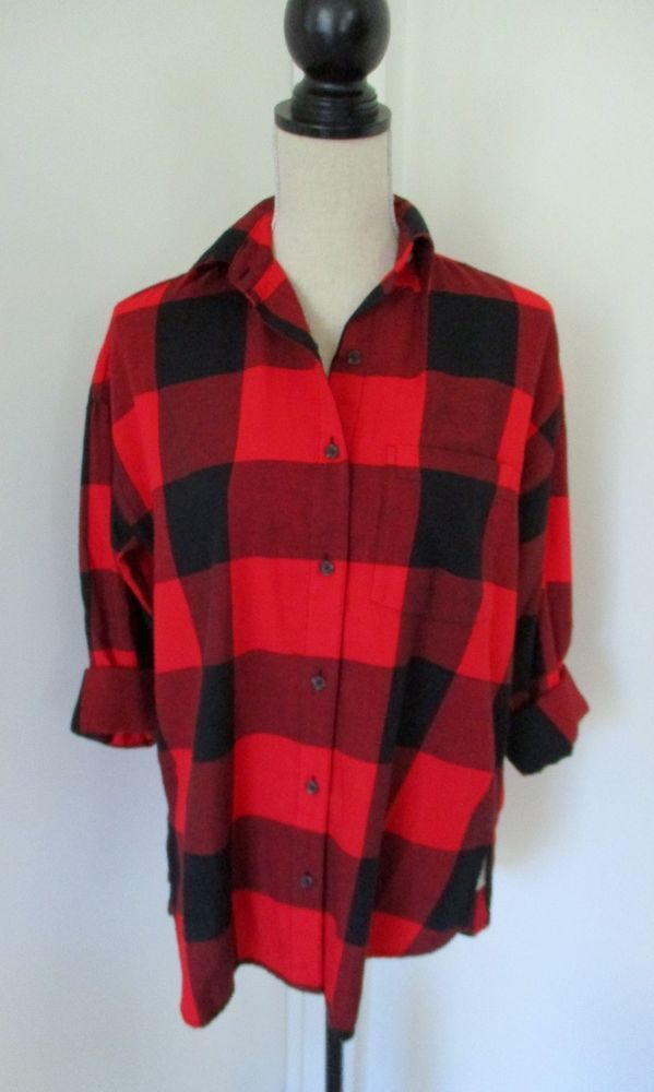 d38f8653 New Old Navy Red Black Buffalo Plaid Boyfriend Flannel Shirt Sz S Womens  Big Red #OldNavy #ButtonDownShirt #Casual