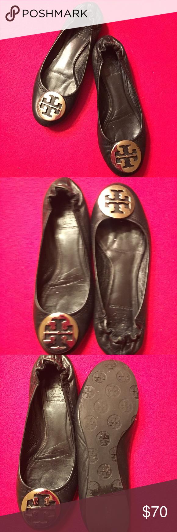 3a18dea72 ... france tory burch black reva logo ballet flats 7 tory burch black leather  reva logo ballet