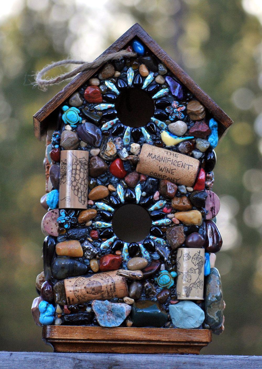 new to winestonebirdhouses on etsy: large mosaic birdhouse blue