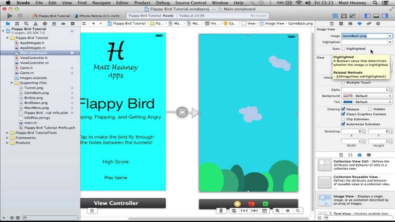 Part 1/3 Flappy Bird Make A Full iPhone App in Xcode 5