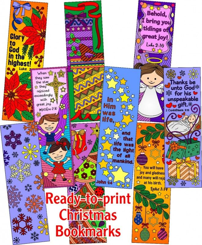 9 Colored Christmas Bookmarks Printables and Templates Pinterest