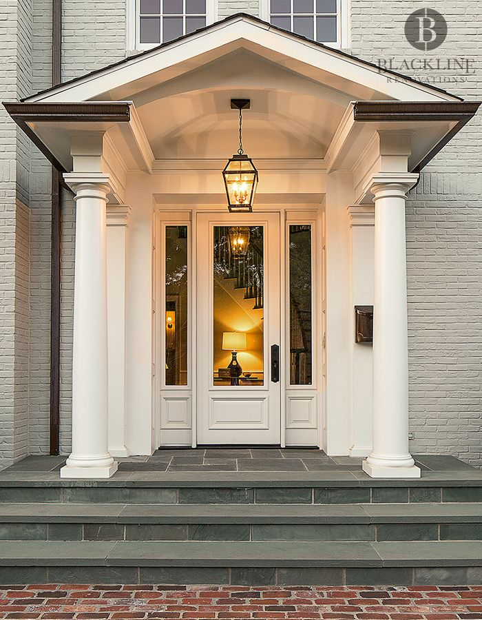Front Porch Remodel Porch Remodel Front Porch Addition: Front Porch Addition Traditional Architecture, Blue Stone Steps, Brick Pavers, Lantern, Copper