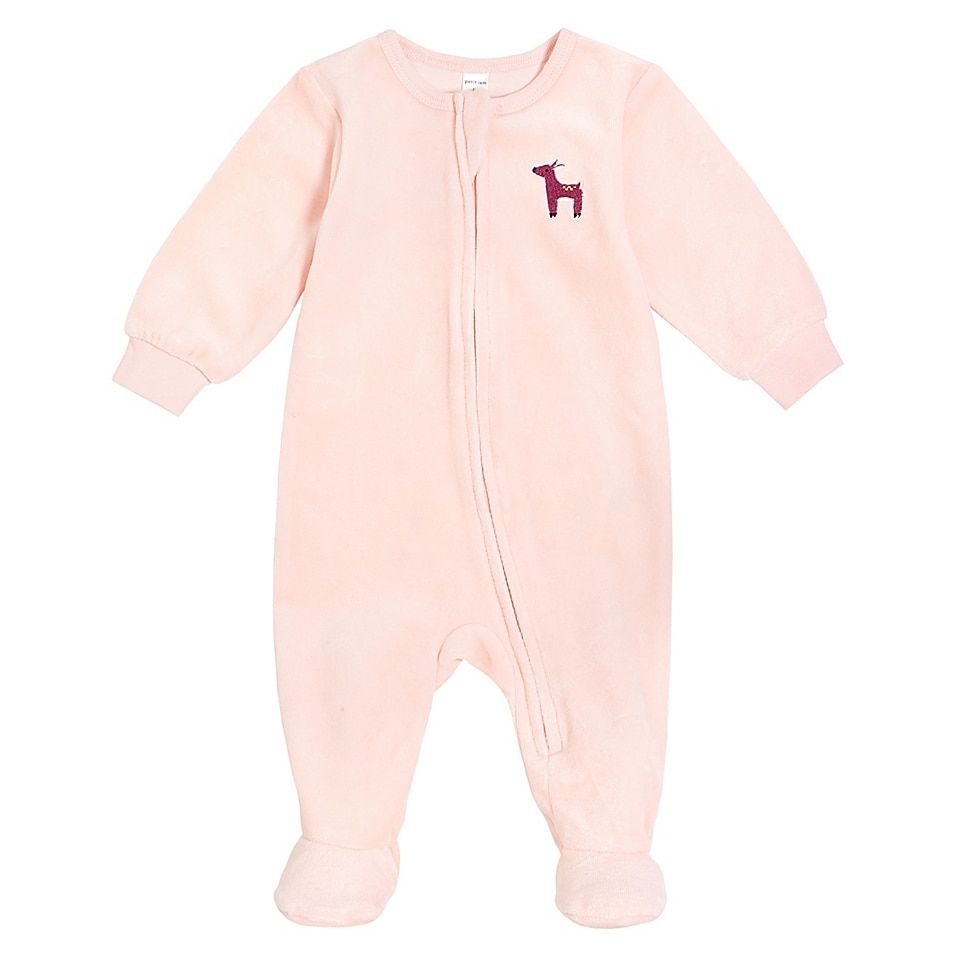Petit Lem Newborn Deer Velour Footie In Pink - Your little one will be ready for ultra-soft comfort with this Petit Lem Deer Velour Footie. Crafted in warm and fuzzy velour made from organically grown cotton with a touch of polyester, perfect for your baby's fall and winter wardrobe.
