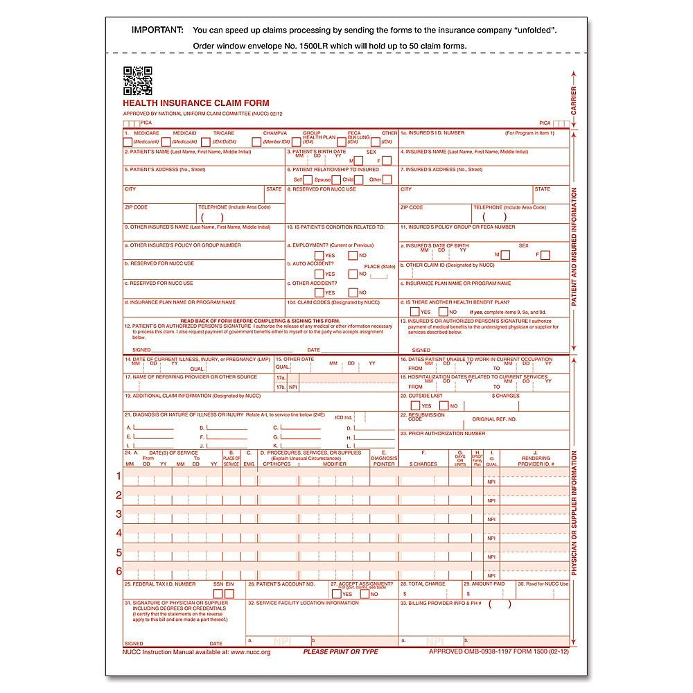 Complyright Cms 1500 Health Insurance Claim Form 02 12 2 Part
