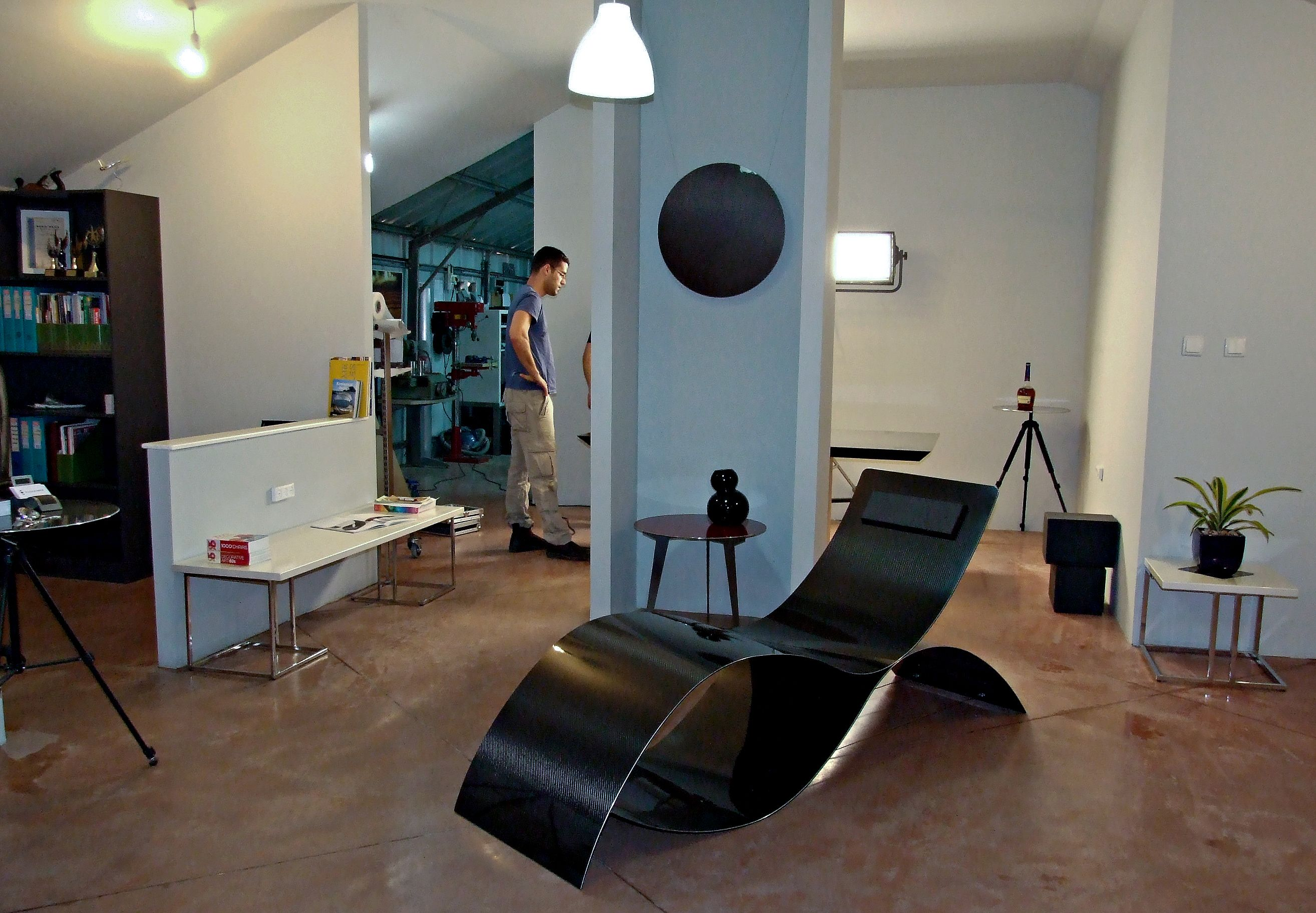 WALK TALK studio visit Nano Fiber. We loved the carbon Chezlong, designed by Asa Levental